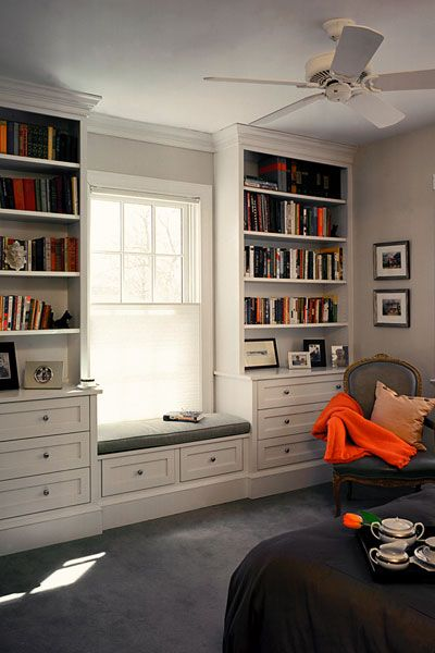 I want to do this in your room this summer!!! except where the window is, put hooks to hang up jackets, housecoat, etc. and a lamp attached to the end of the shelf so you can curl up there and read. want to do this along your large wall. Cool eh?