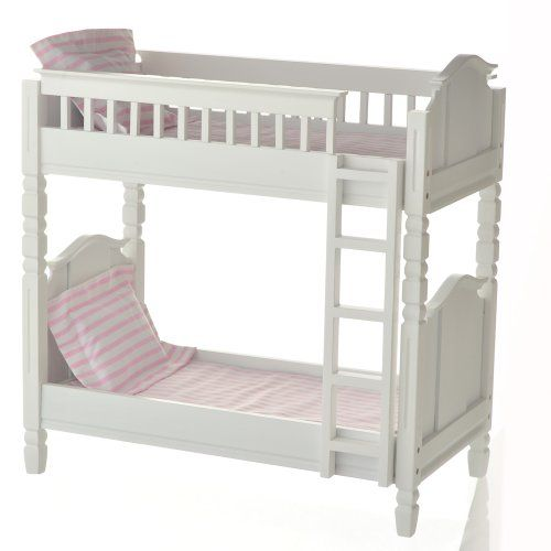 18″ Doll White Wooden Bunk Bed with 2 Mattresses, 2 Pillows, and 2 Sets of Pink Linens Fits Two…