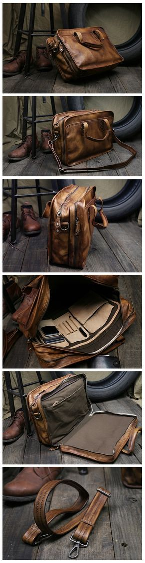 Handmade Brown Leather Briefcase Men's Messenger Bag 15'' Laptop Bag Travel Bag Men's Fashion Briefcase NZ01 Overview: Design: Vintage Leather Men Briefcase In Stock: 4-5 days For Making Include: Only