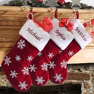 LOVE LOVE LOVE these classic, red velvet embroidered Christmas Stockings! They're the Winter Wonderland Personalized Snowflake Stockings from PMall - you can have them embroidered with any name and they're super affordable! A total must-have!