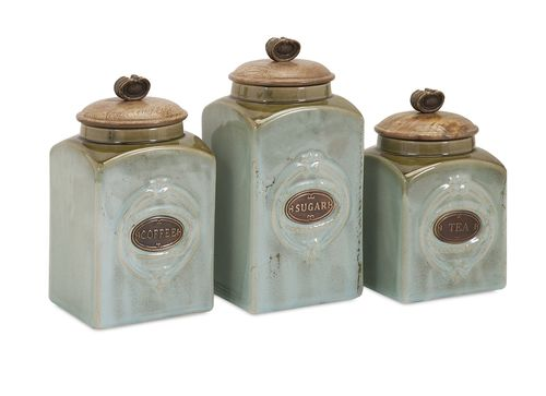 """Addison Ceramic Canisters - Set of 3 7-8-9.5""""""""h x 4.25"""