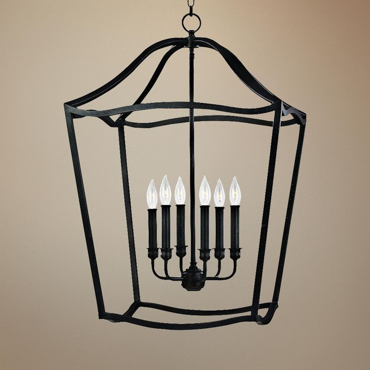 Feiss Yarmouth 20 1 4W 6 Light Forged Iron Lantern Pendant