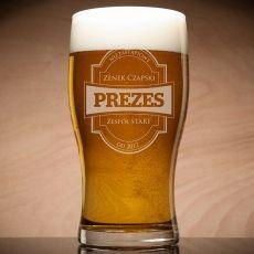 Grawerowana szklanka do piwa PREZES idealny na urodziny