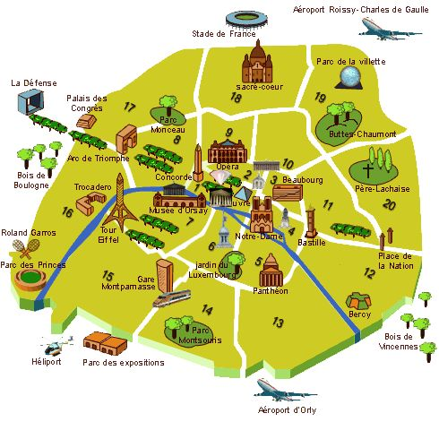 The following Paris map shows the 20 arrondisements that Paris is divided into. Oh to live in the 7th !
