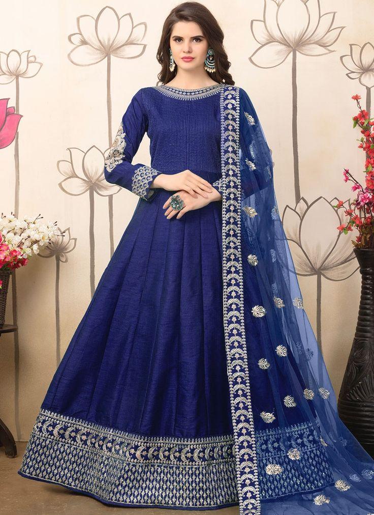 Intricate Patch Border Work Art Silk Navy Blue Floor Length Anarkali Suit