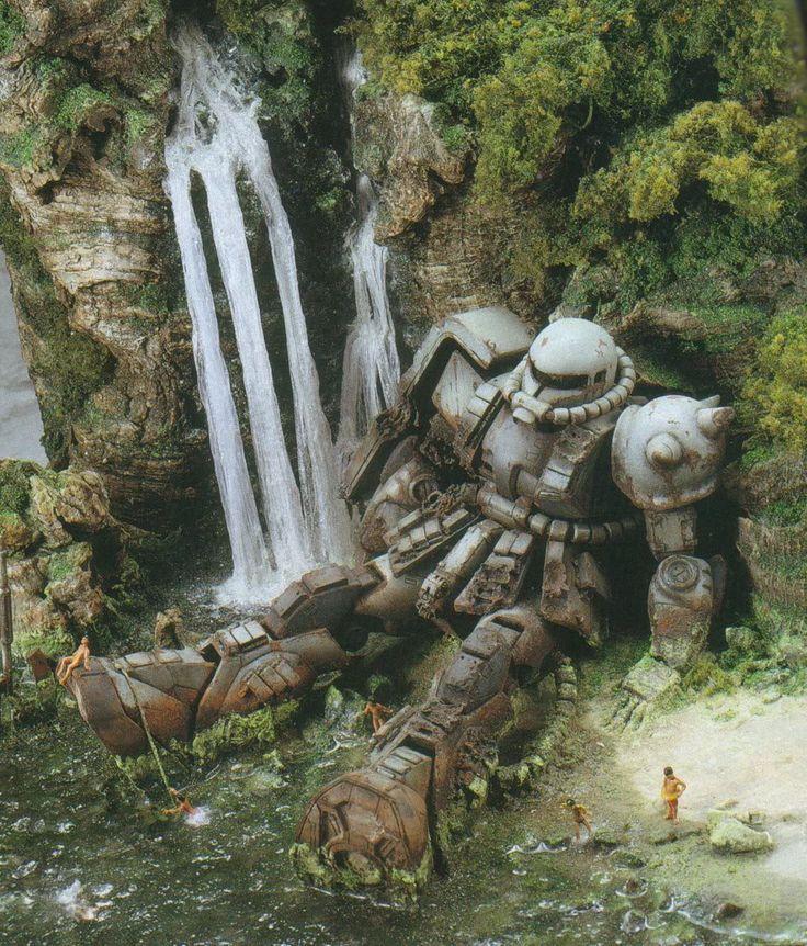 Mech character design robotic robot metal fallen green scenery forest waterfall matte painting