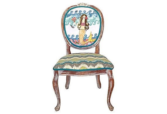 Best French Accent Chair Upholstered In Nautical Mermaid Beach 640 x 480