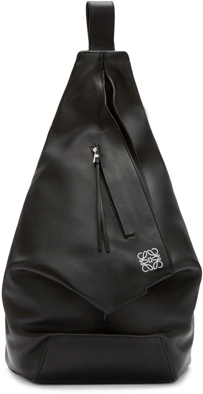 Loewe: ブラック アントン バックパック | SSENSE