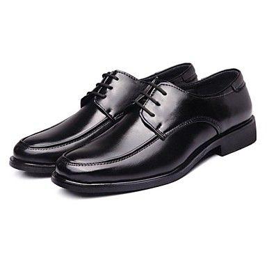 Mens Modern Closed Toe Flat Heel Black Shoes