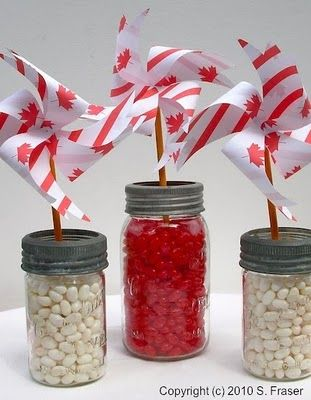 Happy Canada Day pinwheels & jelly beans - would make a cute centerpiece for a outdoor BBQ