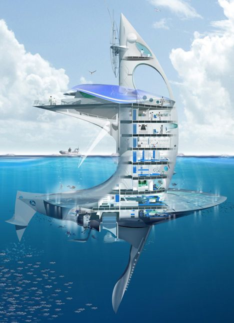 French architect Jacques Rougerie has designed a cross between a skyscraper and a boat for exploring the unchartered territories of the earth's oceans. Named SeaOrbiter, the vessel is meant to accommodate a team of 18-22 researchers, who will be able to spend 24 hours a day underwater.
