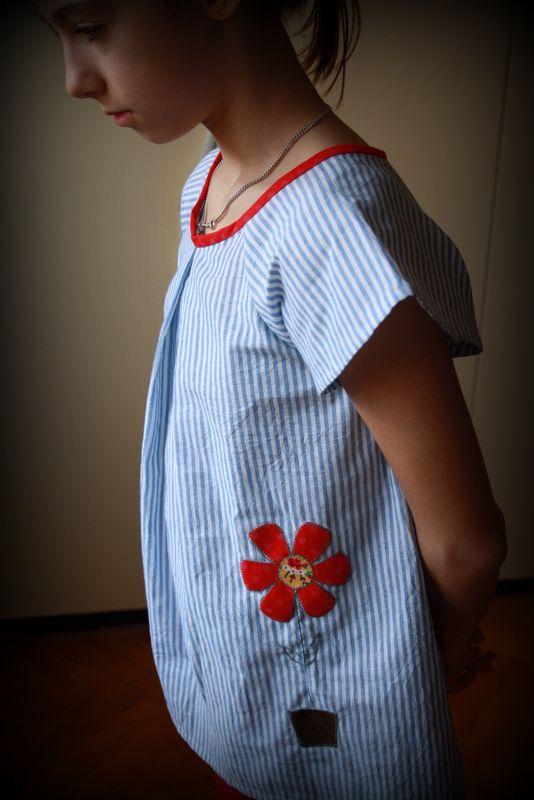 una camicetta in lino con applicazione realizzata da me per L'atelier di Artù!