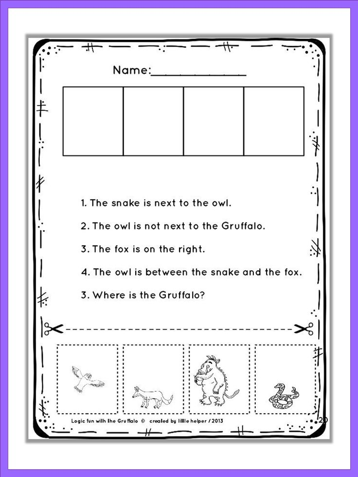 """The Gruffalo"" logic puzzles. Read carefully and find out the exact position of eacht character. From very easy to more challenging. Where is the Gruffalo?"