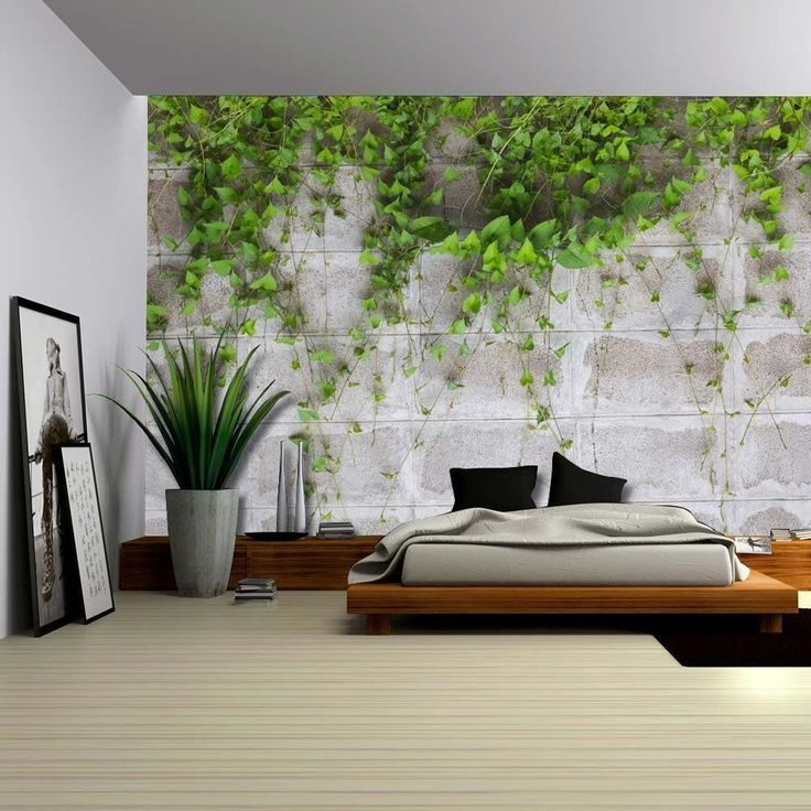 Wall26 - Green Vines Wrapping on a Gray Brick Wall - Wall Mural, Removable Wallpaper, Home Decor - 100x144 inches ** Check this awesome product by going to the link at the image-affiliate link. #WallStickersMurals #goinggreenathome #wallpapermuralsawesome