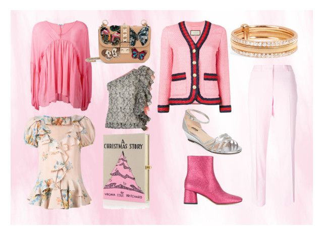 """""""World of pink"""" by justinallison ❤ liked on Polyvore featuring Alexander McQueen, Ermanno Scervino, Marc Jacobs, Pink Paradox London, Dondup, Olympia Le-Tan, Rosie Assoulin, Ileana Makri, Valentino and Gucci"""