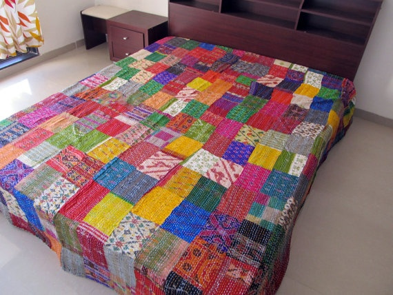 Ikat Silk Patchwork Queen Quilt. Bedspread. Throw. Reversible Bedding. Floral. Great Housewarming, Thanksgiving, Christmas Gift. $128.00, via Etsy.