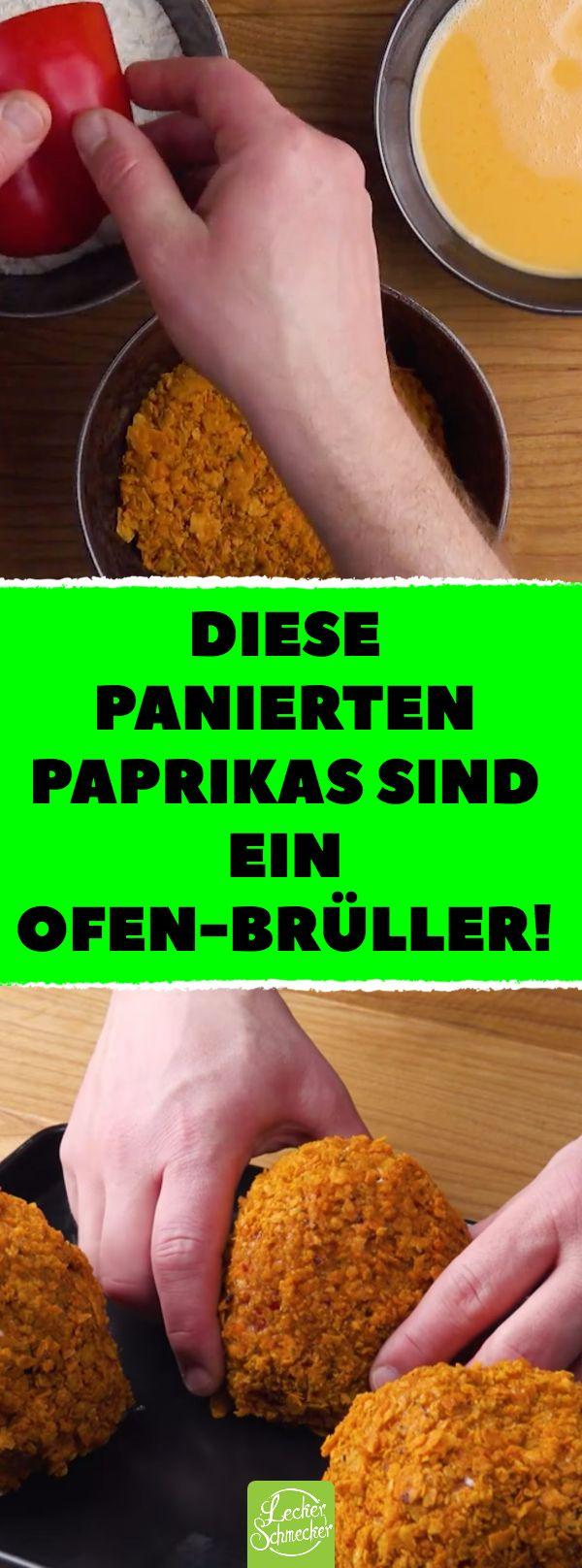 Diese panierten Paprikas sind ein Ofen-Brüller! #rezept #rezepte #paprika #gefüllt #paniert #tortilla #chips #hack #hackfleisch #backen #käse #mozzarella #cheddar #salsa #knoblauch
