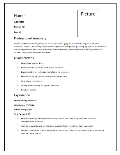 Manufacturing-Resume-Template
