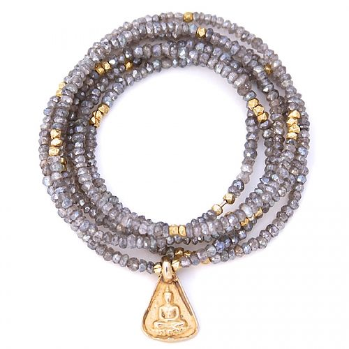 gold & gray jewelry mystic labradorite and buddha charm
