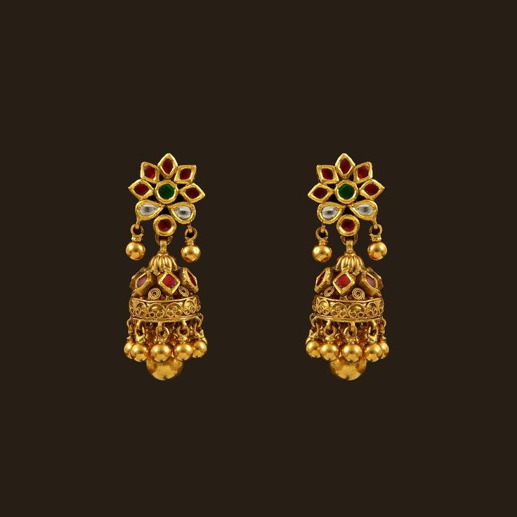Gold Kundan Earrings (108A36175) | Vummidi Bangaru Jewellers
