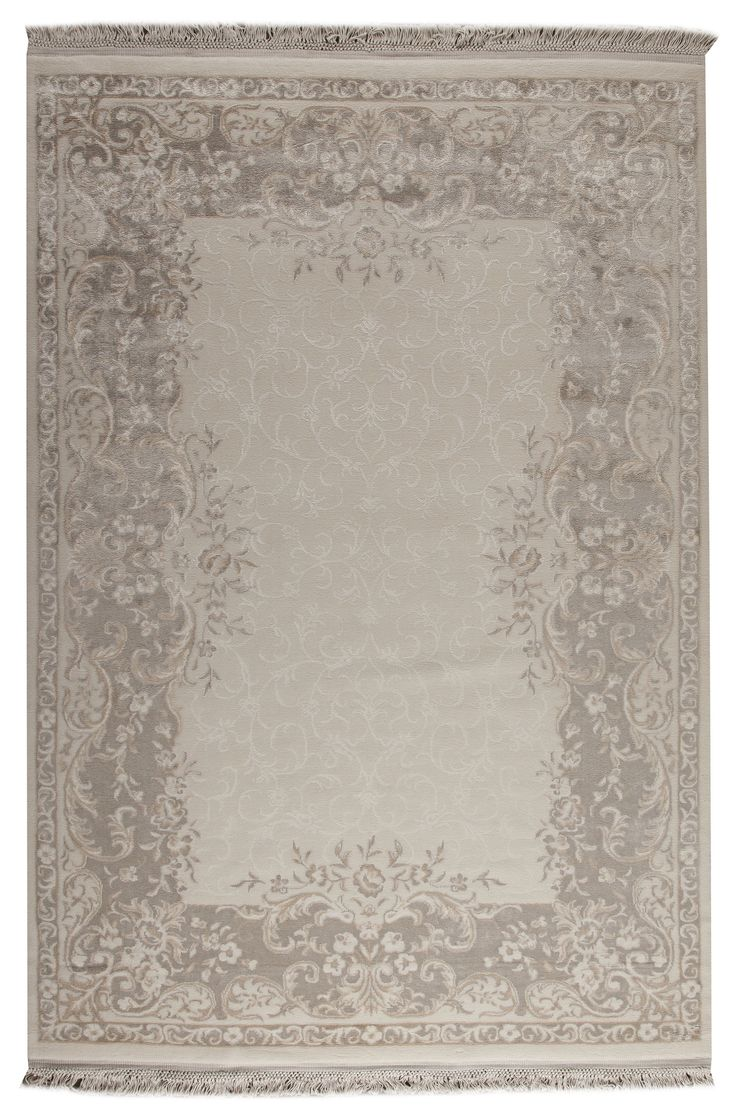 Bellshill Collection Wool and Viscose Are Rug in White and Beige design by Mat the Basics