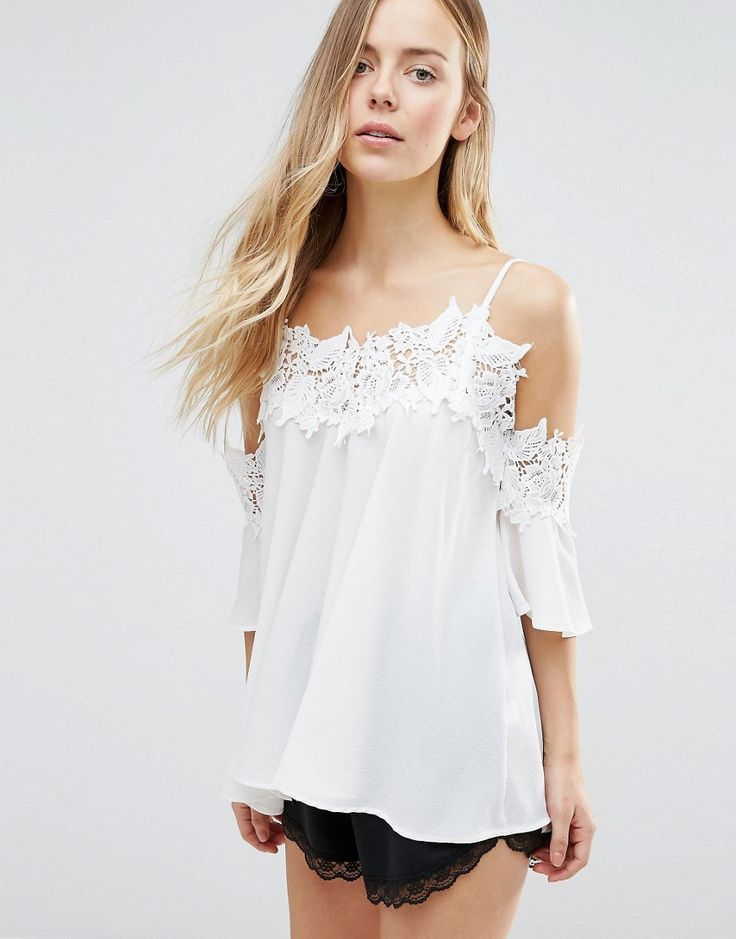 Buy it now. QED London Lace Floral Cold Shoulder Top - Cream. Top by QED London, Lightweight woven fabric, Square neck, Cami straps, Cold shoulder cut, Floral lace trims, Relaxed fit, Machine wash, 100% Polyester, Our model wears a UK S/EU 36/US 4. , tophombrosdescubiertos, sinhombros, palabradehonor, topestilopañuelo, offshoulders, tube, offtheshoulder, coldshoulder, bardot, cutout, bandeau. Beige QED London  top off shoulder  for woman.