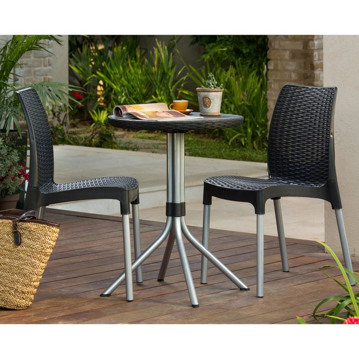 Keter chelsea 3 piece wicker bistro set from marvis terrace pinterest - Bistro sets for small spaces collection ...