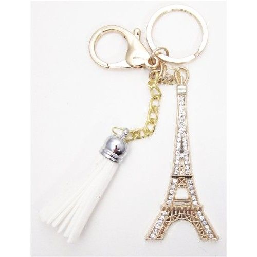 1 Pc Handmade Gold Bling Effiel Tower Rhinestone Keychain and Purse Hanger