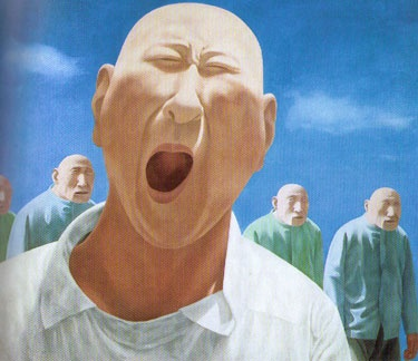 Fang Lijun, Group Two, No.2.    One of the forerunners of the Chinese movement cynical realism. It's a piece I can't stop looking at. Saw it early nineties in Rotterdam and a poster of it is hanging in my home ever since.