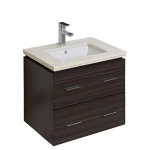 American Imaginations 24 in. Vanity in Antique Walnut with Marble Vanity Top in Beige-727 at The Home Depot