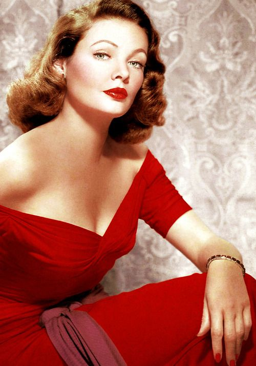 Gene Tierney looking strikingly gorgeous in ruby red. #vintage #actresses #glamor 40s 50s movie star photo print ad red dress cocktail portrait neckline off shoulder silk