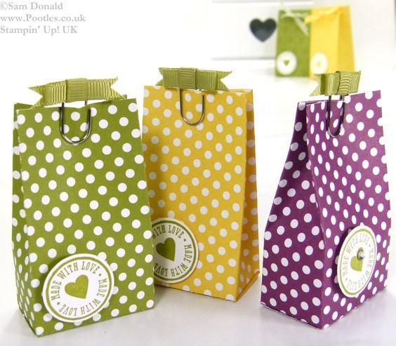 January 10, 2014  Sam Hammond Donald POOTLES:  Stampin Up UK Polka Dot Parade 6 bags from one sheet DSP 3: