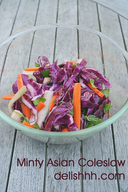 Minty Asian Coleslaw by Delishhh, awesome alternative to coleslaw.    http://delishhh.com/2012/09/03/minty-asian-coleslaw/