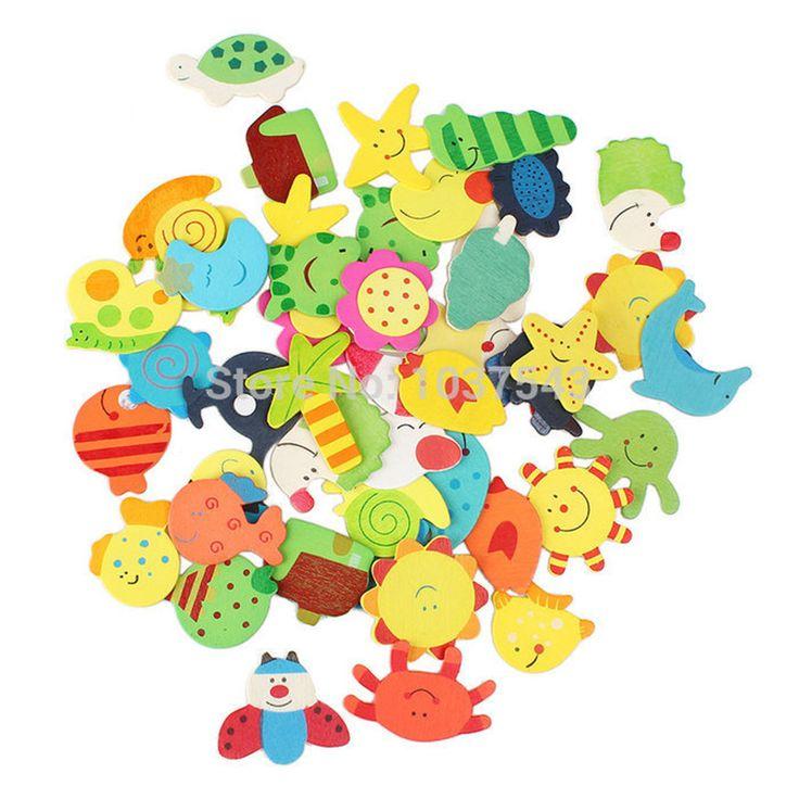 Kualitas tinggi Kayu Kartun Kulkas Magnet Untuk Anak-anak Berbagai Bentuk dan Warna