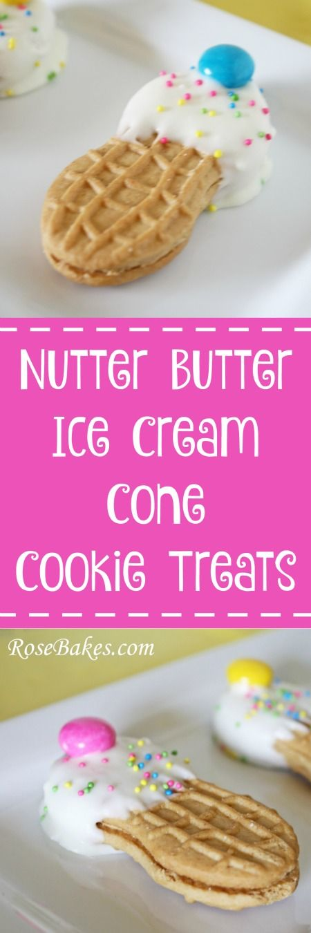 How to Make Nutter Butter Ice Cream Cone Cookie Treats  | Rose Bakes  These are perfect for an ice cream party, class treats, or just a fun afternoon with kids!
