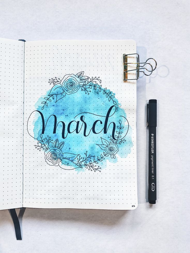 bullet journal monthly cover page blue watercolor