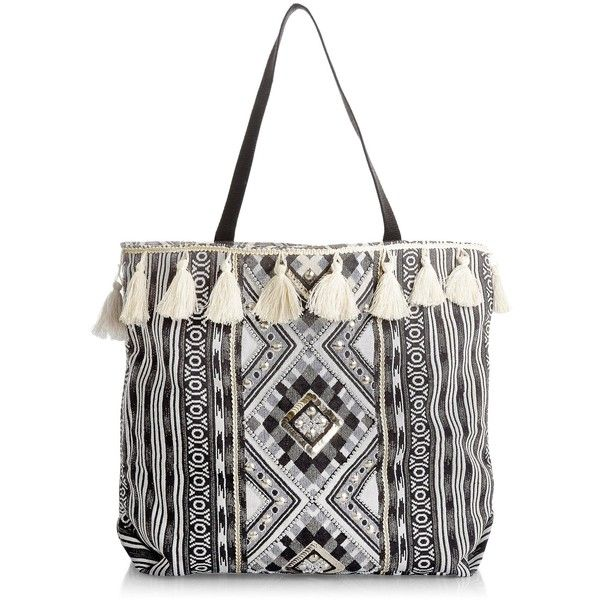 New Look Black Aztec Knit Tassel Trim Shopper Bag ($21) ❤ liked on Polyvore featuring bags, handbags, tote bags, black pattern, shopping bag, shopping tote bags, aztec handbag, aztec print purse and shopping tote