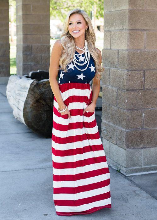Boutique, Online Boutique, Women's Boutique, Modern Vintage Boutique, Dress, Maxi Dress, American Flag Dress, Tank Dress, 4th Of July Dress, Red and Blue Dress, Striped Dress, Stars Dress, Cute, Fashion