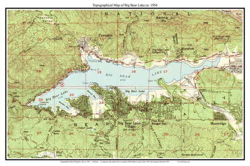 Big Bear Lake 1954 - Custom USGS Old Topo Map - California ...