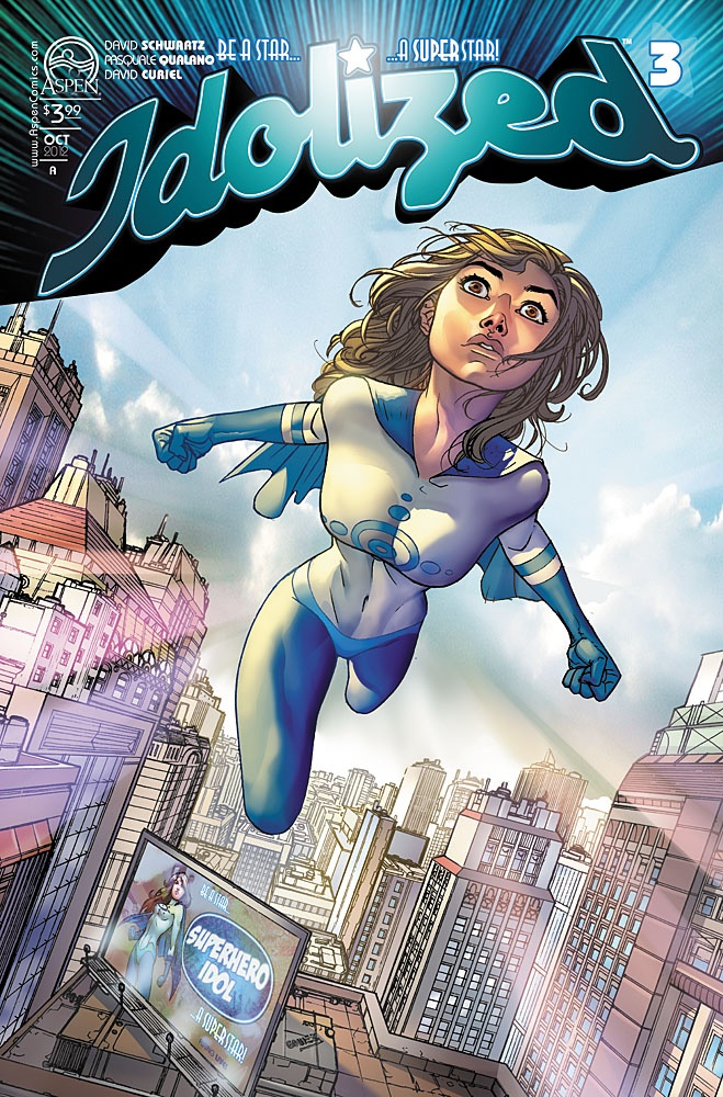 IDOLIZED #3 cover by Micah Gunnell!  From Aspen Comics.  Written by David B. Schwartz.  Art by Pasquale Qualano.  Colors by David Curiel.