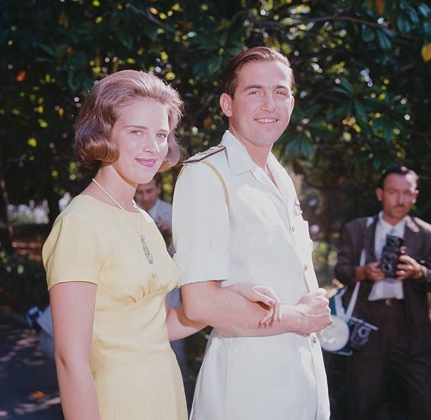 King Constantine II of Greece and his fiancee, Princess Anne-Marie of Denmark pictured together at the Greek royal summer residence in Corfu on 23rd July 1964.