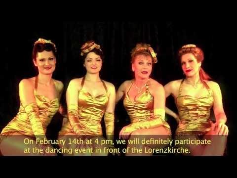 """I will rise..."": Burlesque Dancers in Nürnberg, Germany.  Published on Feb 1, 2013 . The Burlesque Dance Ensemble of ""Rote Bühne"" in Nürnberg will be dancing on 14 February with One Billion Rising Nürnberg."