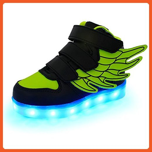 Frommk Sneakers Kids Boys Girls Usb Charger 7 Colors Led Lights Luminous Sports Shoes Sneaker Athletic Wings Trainers High-Top Shoes Green31 M Eu / 13 M Us Little Kid - Sneakers for women (*Amazon Partner-Link)