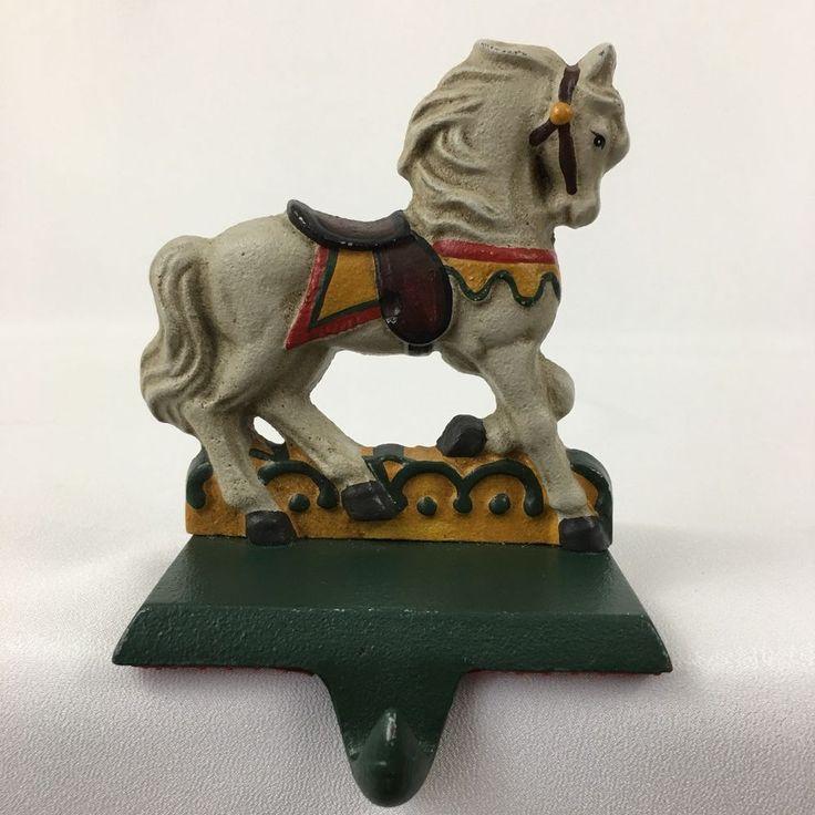 Cast iron horse christmas stocking holder vintage pony
