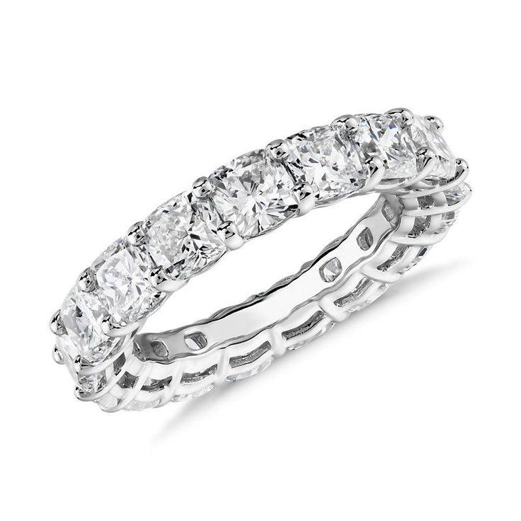 Cushion Cut Diamond Eternity Ring Platinum (6.0 ct. tw.), Platinum Diamond