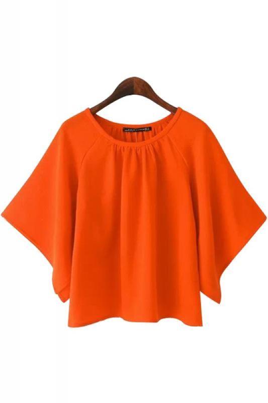 Orange Round Neck Batwing Sleeve Chiffon Blouse