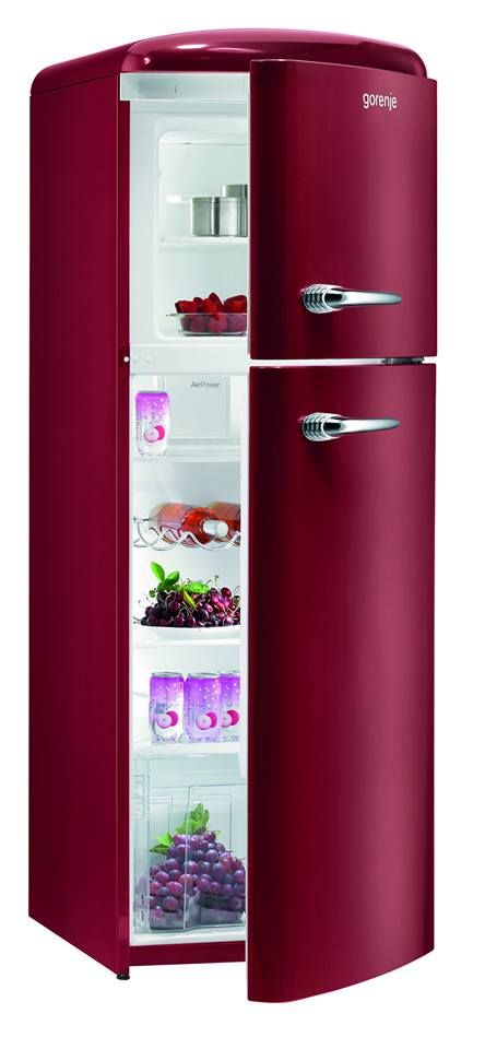 RF60309OR - Retro Burgundy Freestanding Fridge Freezer