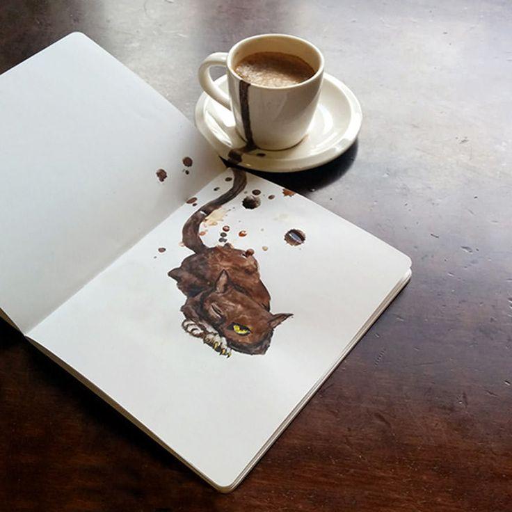 Een kunstenares gebruikt haar koffie om schattige portretten van katten te maken. Het resultaat is fenomenaal!
