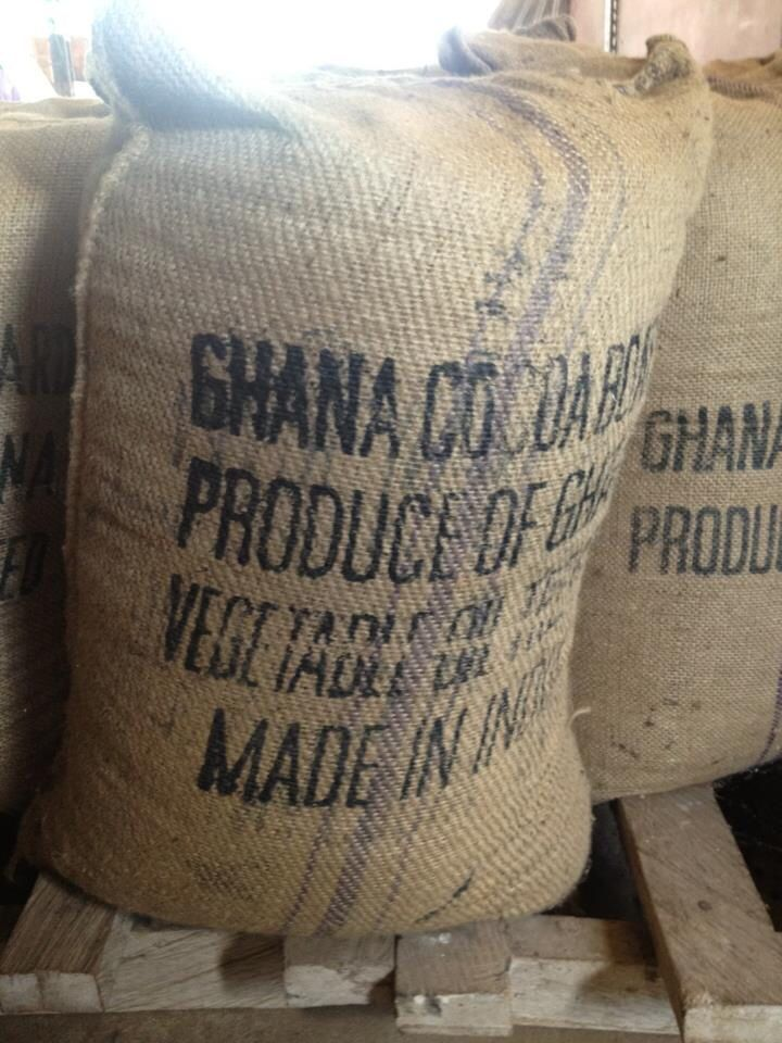 Ghana cocoa beans in the shipping yard bunkers.