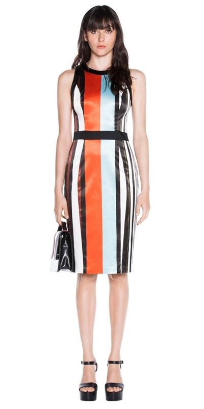 CUE - Stripe Satin Fitted Dress